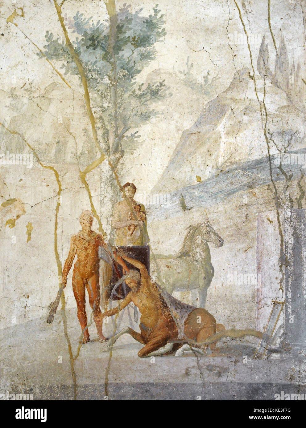 Roman fresco depicting Heracles grabbing the centaur Nessus