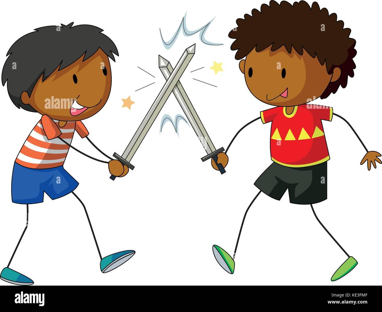 cartoon illustration two boys fighting stock photos & cartoon