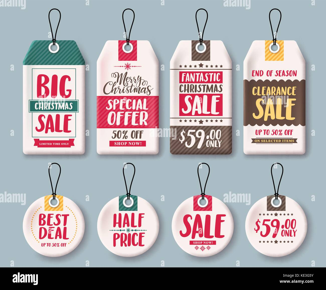 christmas tags vector template set and price tags in white paper with sale discount and greeting text for christmas holiday shopping promotion