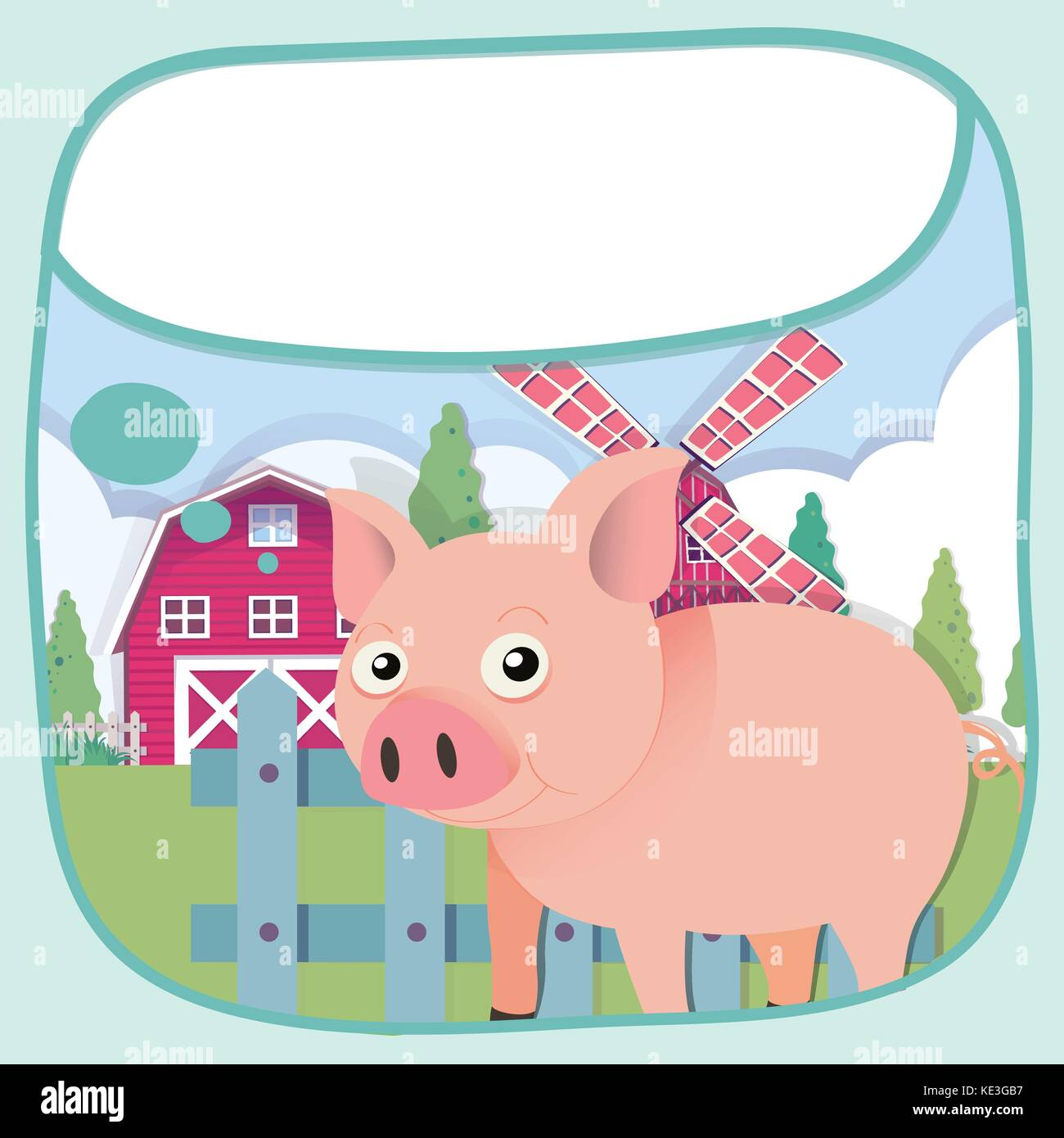 Border Design With Pig And Barn Illustration