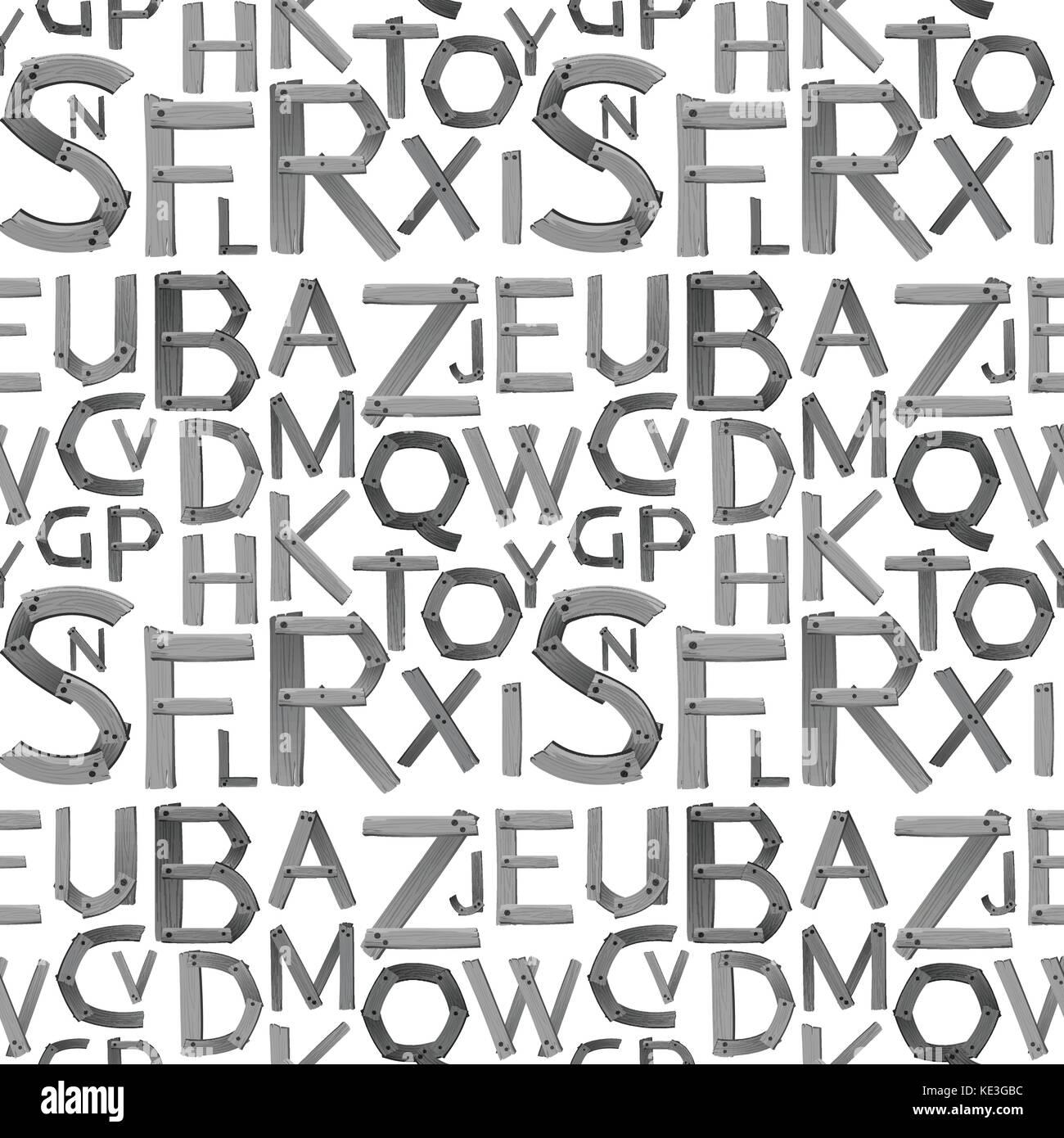 Seamless gray English alphabets illustration - Stock Vector