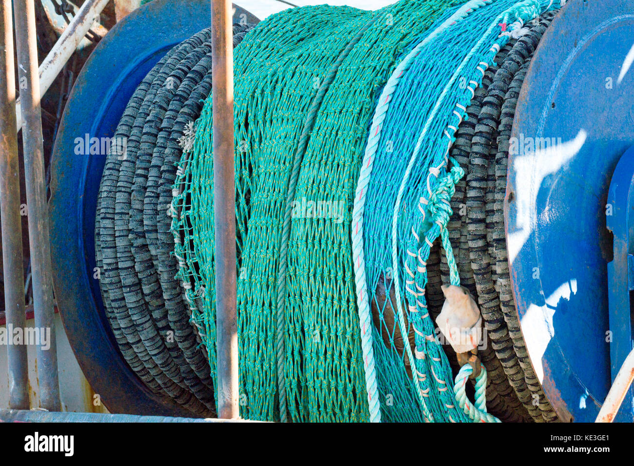 Fishing nets in the harbor in Hanstholm, Denmark - Stock Image