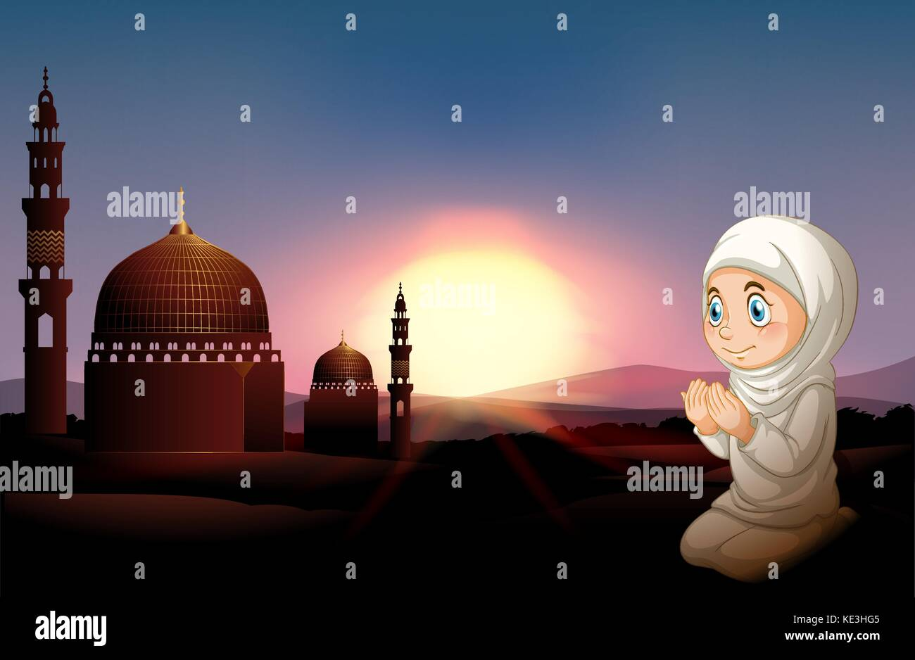 Muslim girl praying at the mosque illustration stock image