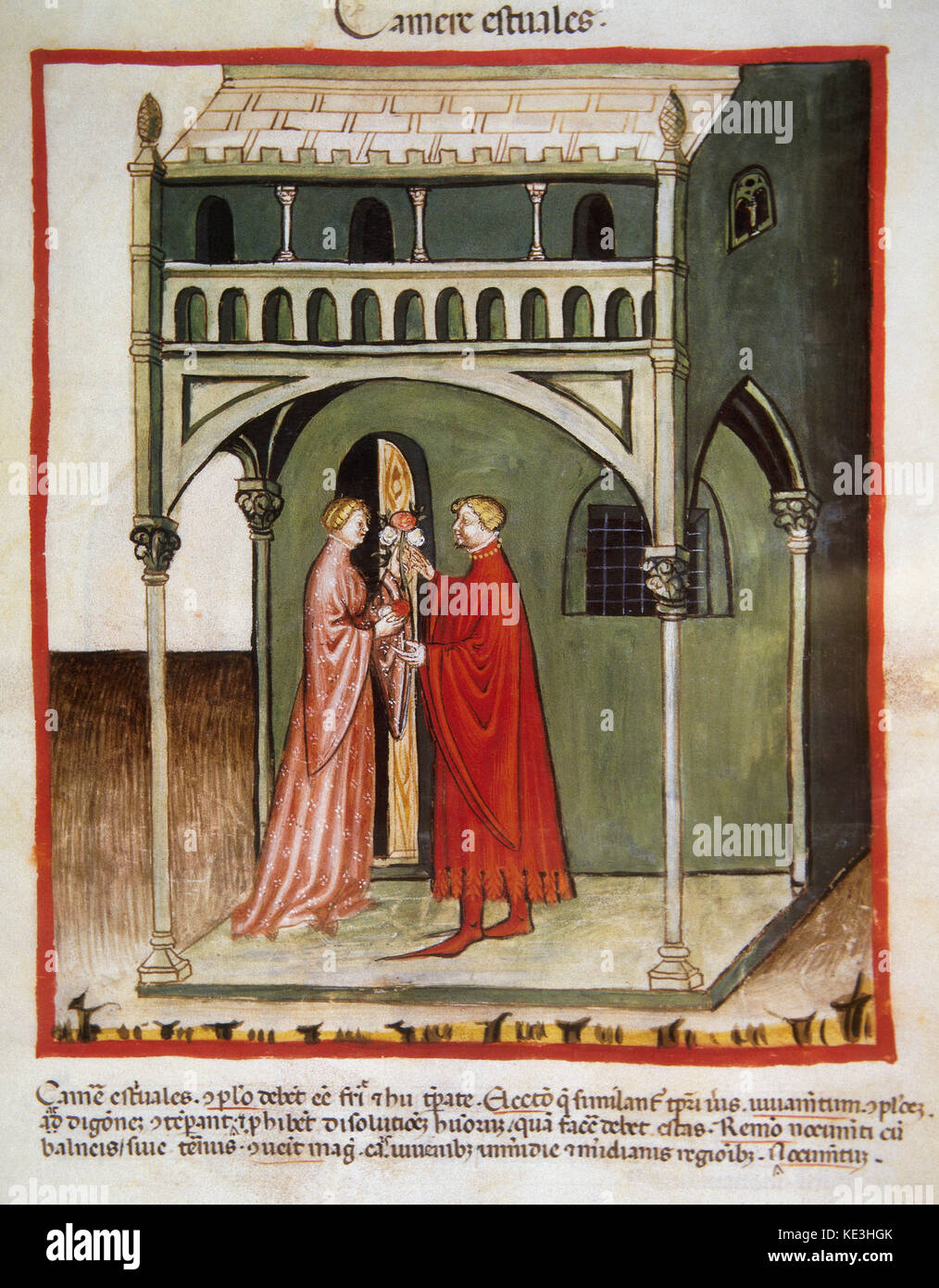 Tacuinum Sanitatis. 14th century. Medieval handbook of health. A man gives a bouquet to his wife next to the summer's - Stock Image