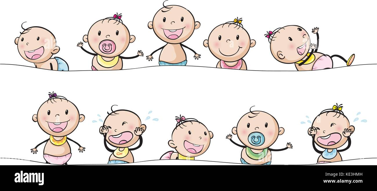 Baby boys and girls with facial expressions illustration - Stock Vector