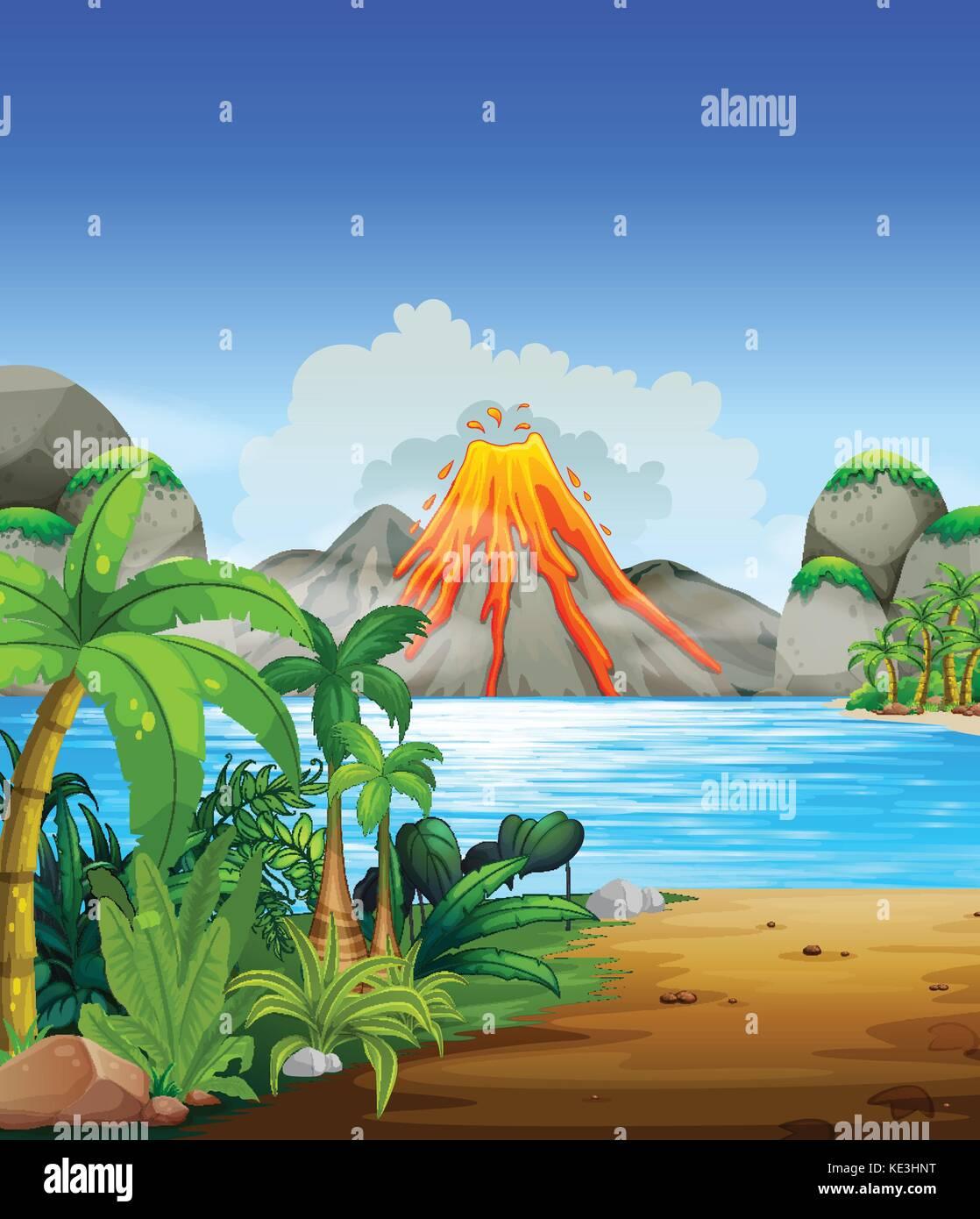 Volcano eruption behind the lake illustration - Stock Vector
