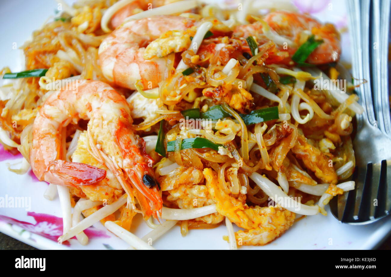 Pad Thai Stir Fried Rice Noodle With Prawn And Egg On Dish Stock Photo Alamy