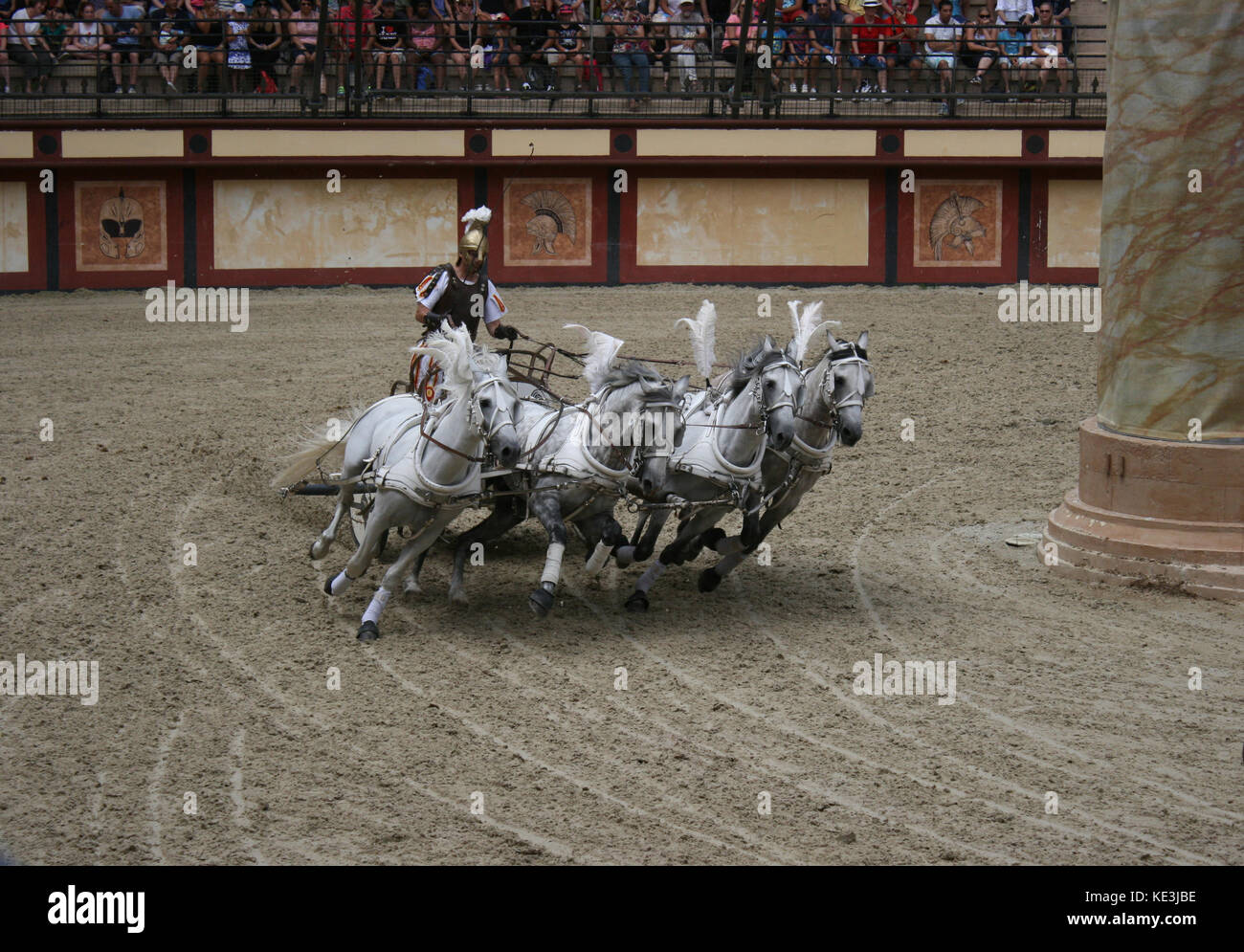 Chariot race in Roman circus - Stock Image