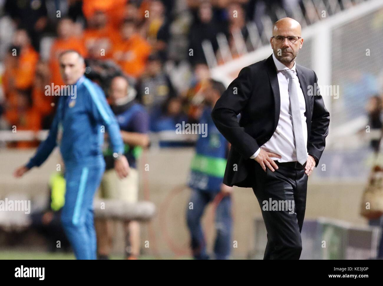 Nicosia, Cyprus. 17th Oct, 2017. Bortussia Dortmund's coach Peter Bosz reacts during the 2017-2018 Champions League Stock Photo
