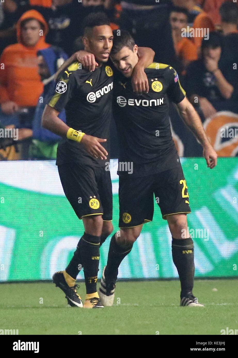 Nicosia, Cyprus. 17th Oct, 2017. Bortussia Dortmund's Sokratis Papastathopoulos (R) celebrates scoring during the Stock Photo