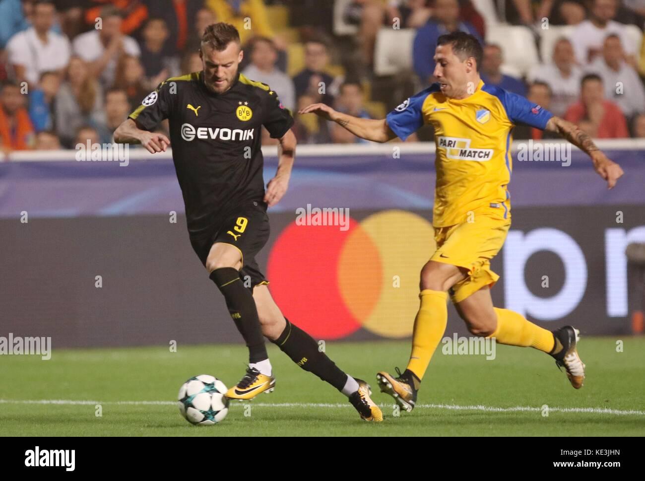Nicosia, Cyprus. 17th Oct, 2017. Bortussia Dortmund's Andriy Yarmolenko (L) vies for the ball during the 2017-2018 Stock Photo