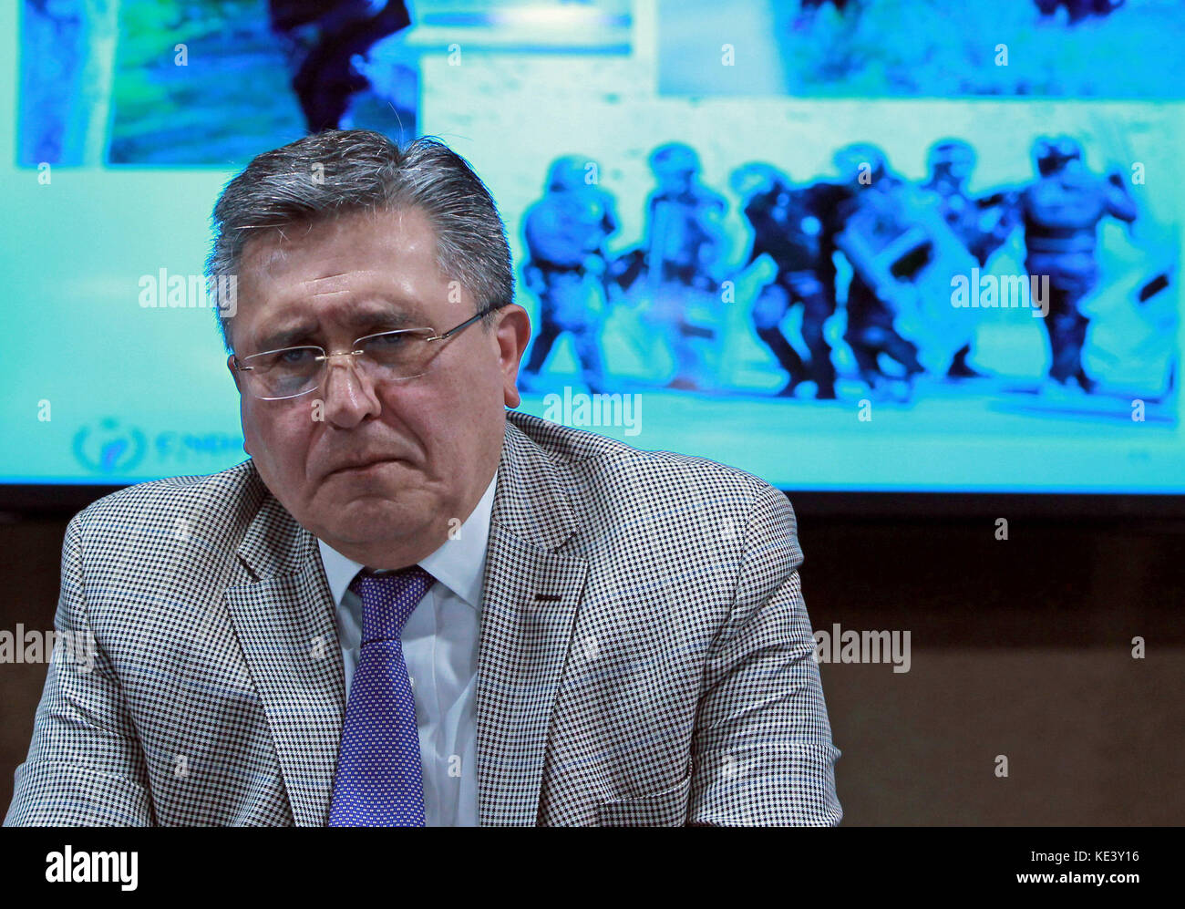 The head of the National Commission of Human Rights (CNDH) Luis Raul Gonzalez offers a press conference in Mexico - Stock Image
