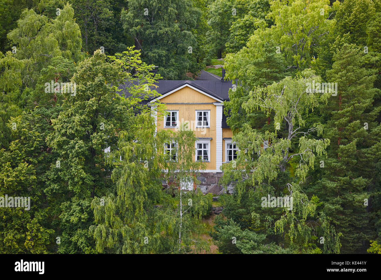 Yellow wooden house surrounded by forest in Finland. Nature background - Stock Image
