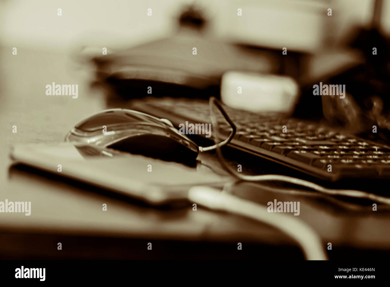 Working Space Mobile Phone Computer Mouse And Keyboard Wallpaper Stock Photo Alamy