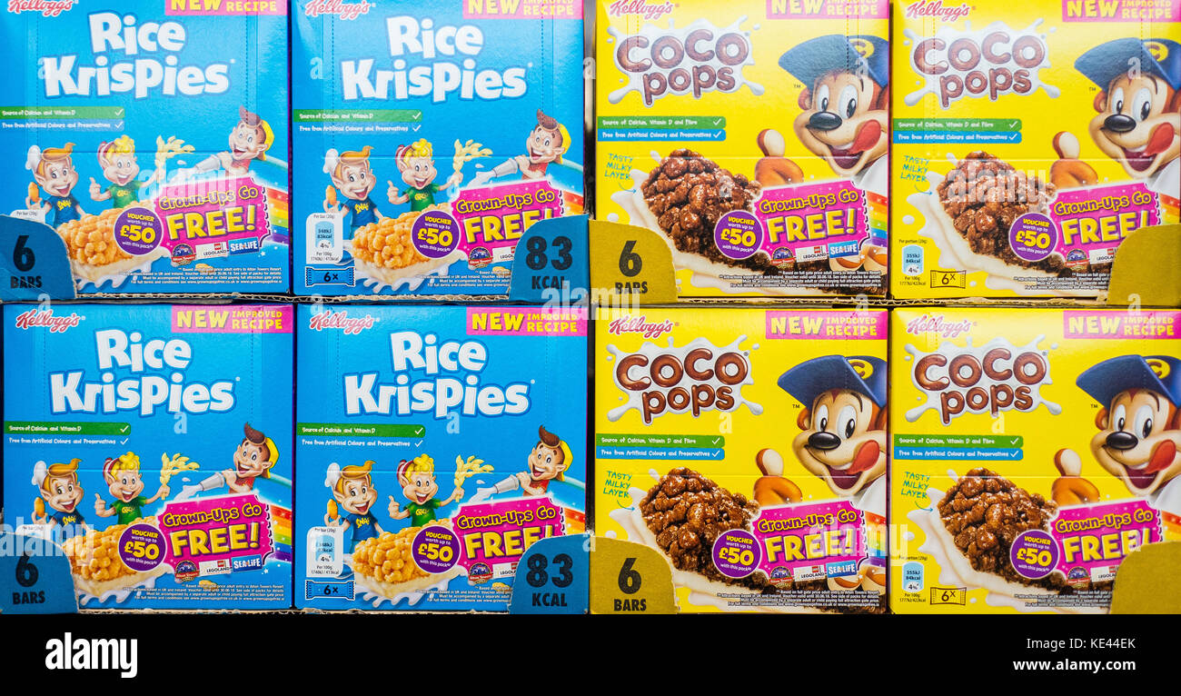 Rice Krispies And Coco Pops Cereal Stacked Own The Shelf In A Uk