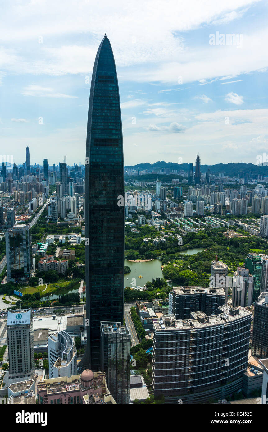 KK100 skyscraper in Shenzhen, Guangdong Province, China - Stock Image