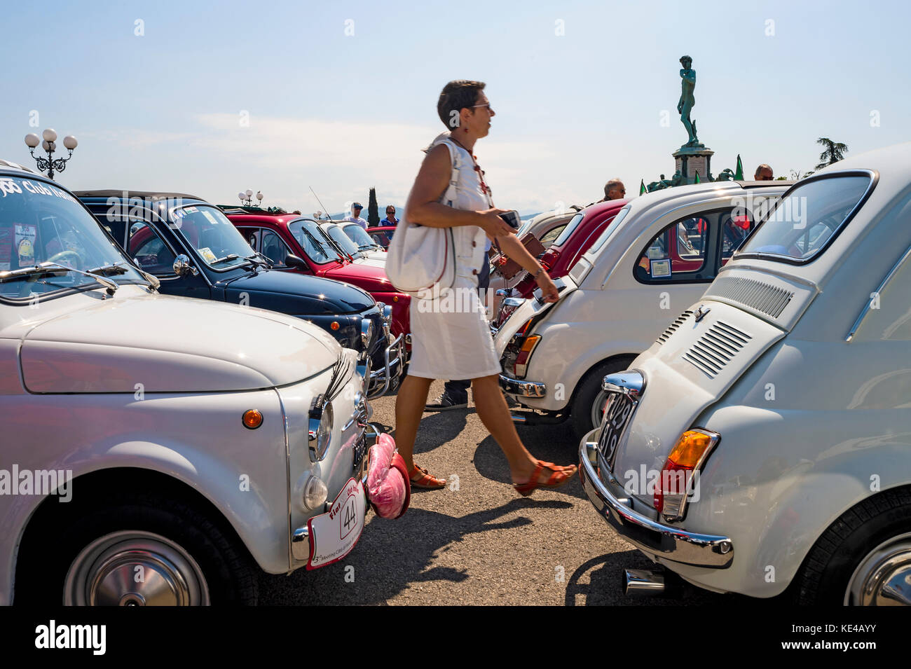 europe,italy,tuscany,italy,fiat 500,old car,vintage car,abarth,colors,rally - Stock Image