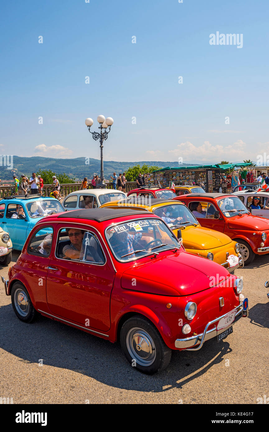 europe,italy,tuscany,italy,fiat 500,old car,vintage car,abarth,colors,rally Stock Photo