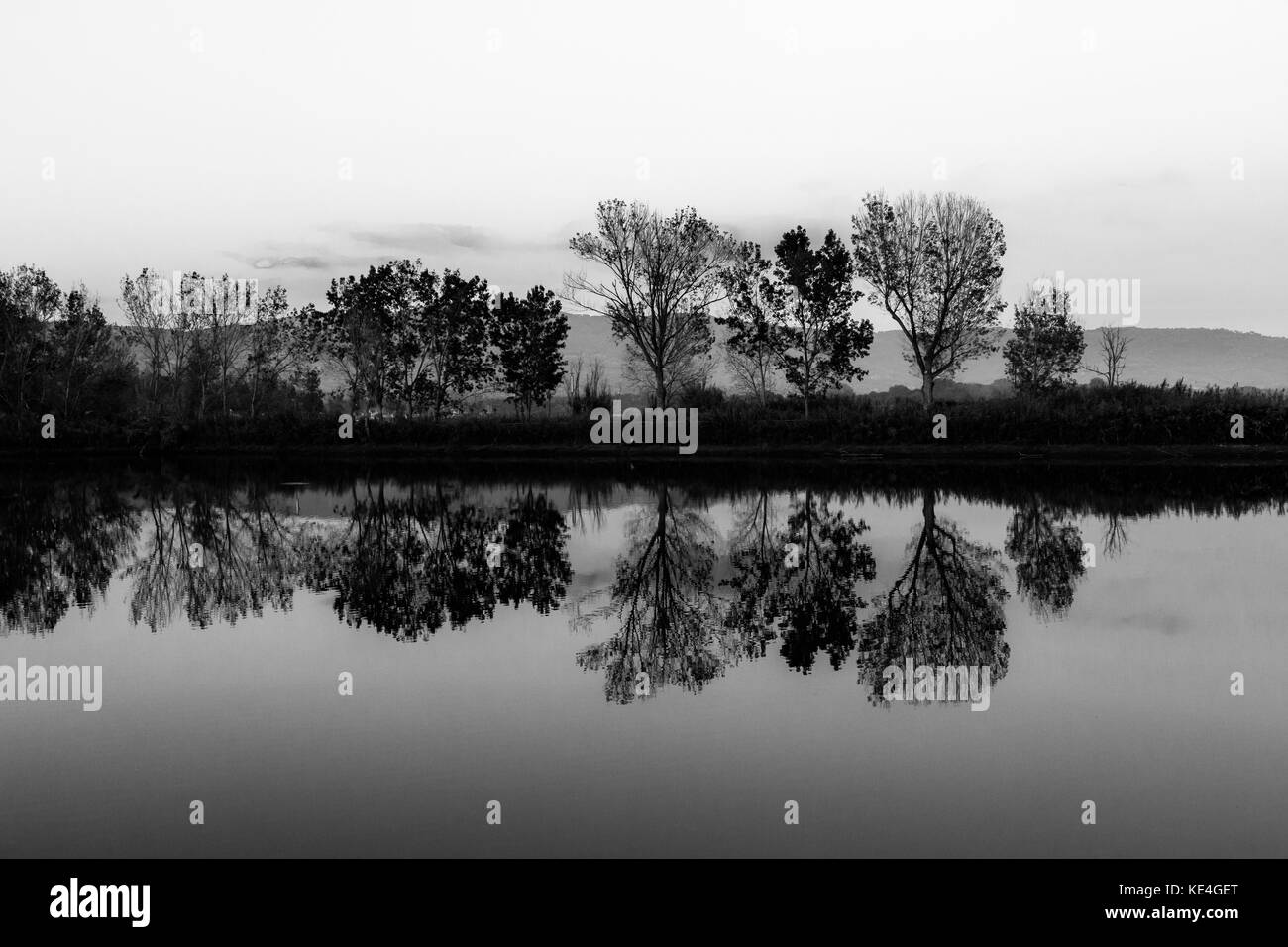 A symmetric photo of a lake, with trees and clouds reflections on water - Stock Image