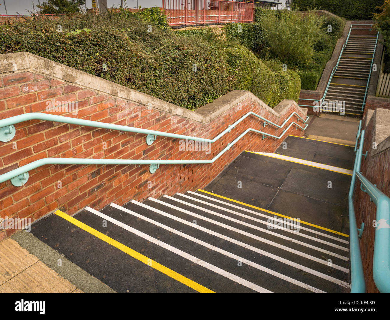 Staircase and underpass of  the Tyne and Wear metro at East Boldon, England. - Stock Image