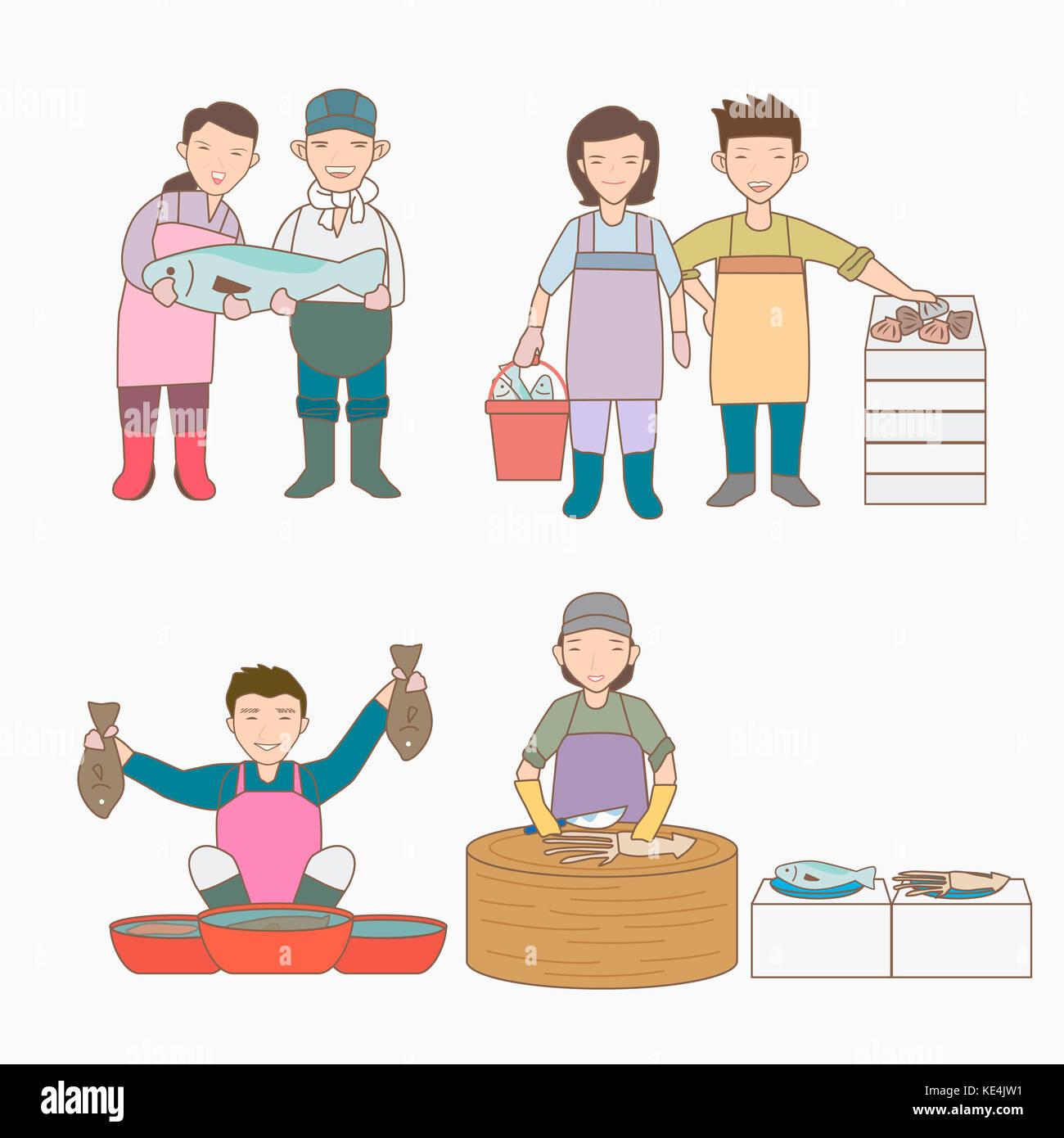 Illustration of smiling merchants at fish market - Stock Image
