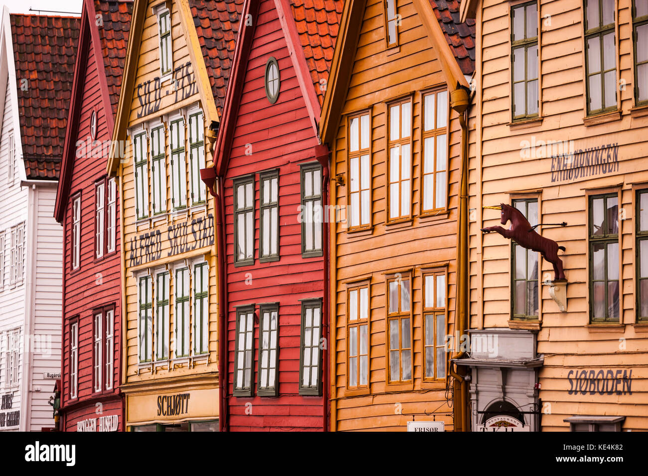 The Hanseatic commercial building frontage of Bryggen on the eastern side of the harbour in bergen - Stock Image