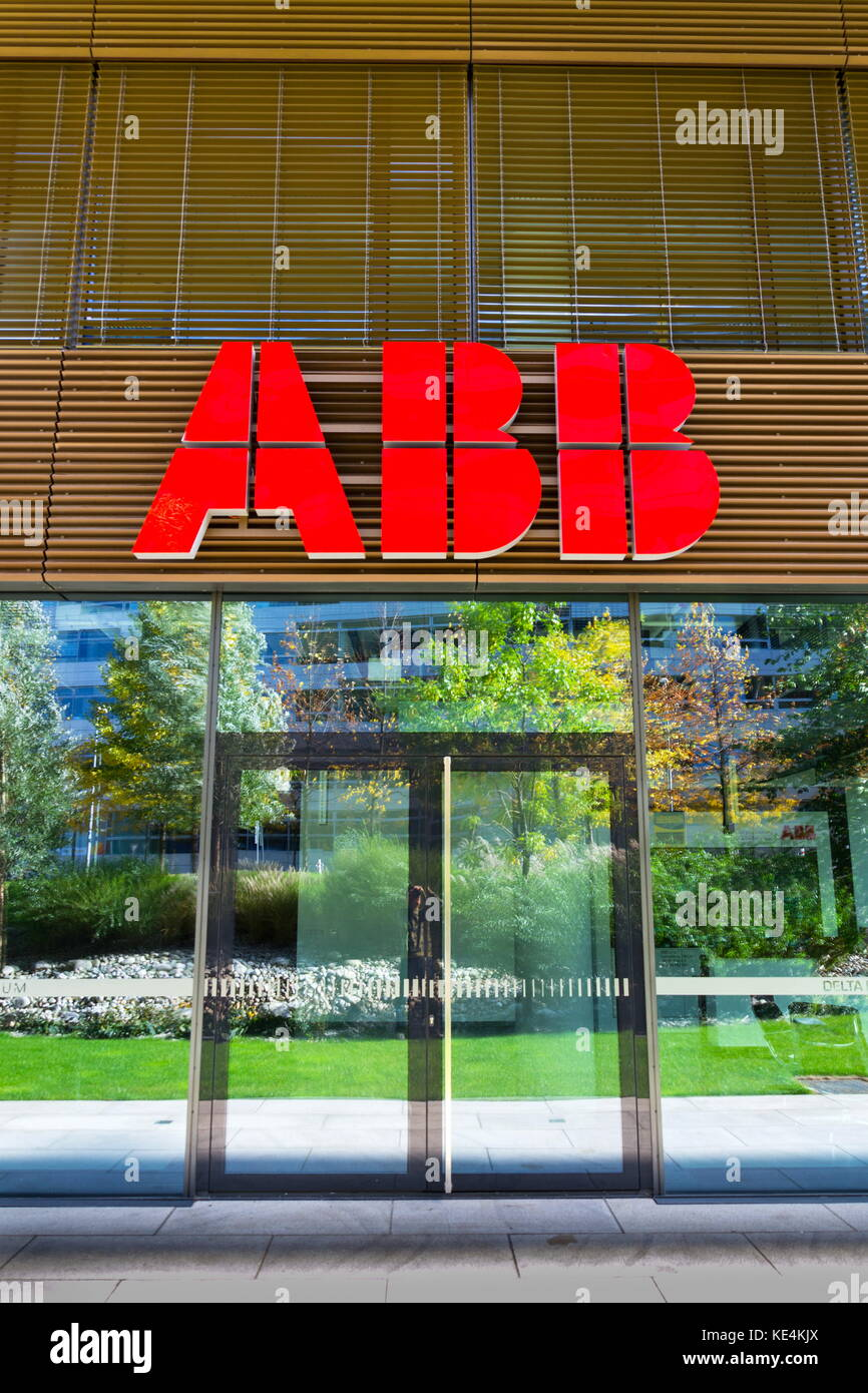 PRAGUE, CZECH REPUBLIC - OCTOBER 14: ABB company logo on headquarters  building on October 14, 2017 in Prague, Czech Stock Photo