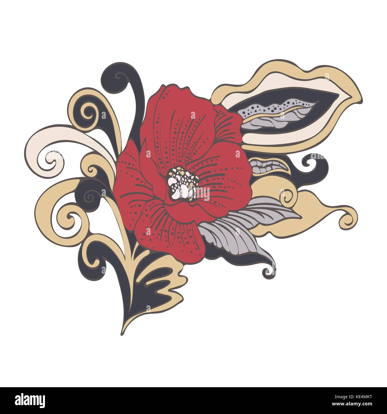 Abstract flower cartoon vector hand drawn red bud poppy flower abstract flower cartoon vector hand drawn red bud poppy flower petals stem leaves and curls exquisite unusual color ornament isolated on white mightylinksfo