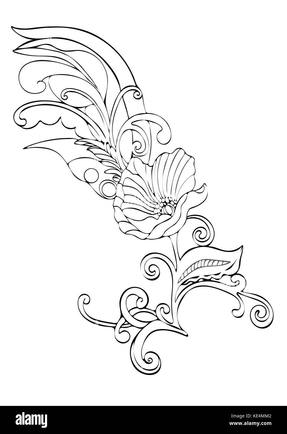 Cartoon poppy flower stock photos cartoon poppy flower stock abstract flower cartoon vector black and white contour hand drawn outline monochrome illustration mightylinksfo