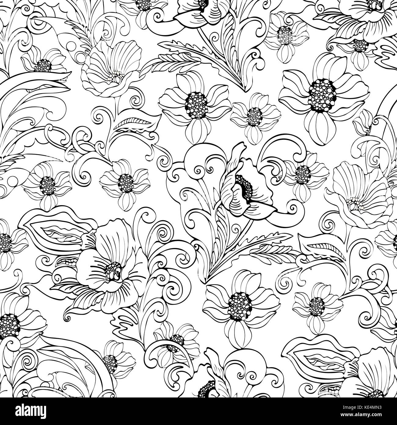 Abstract Flowers Seamless Pattern Vector Floral Black And