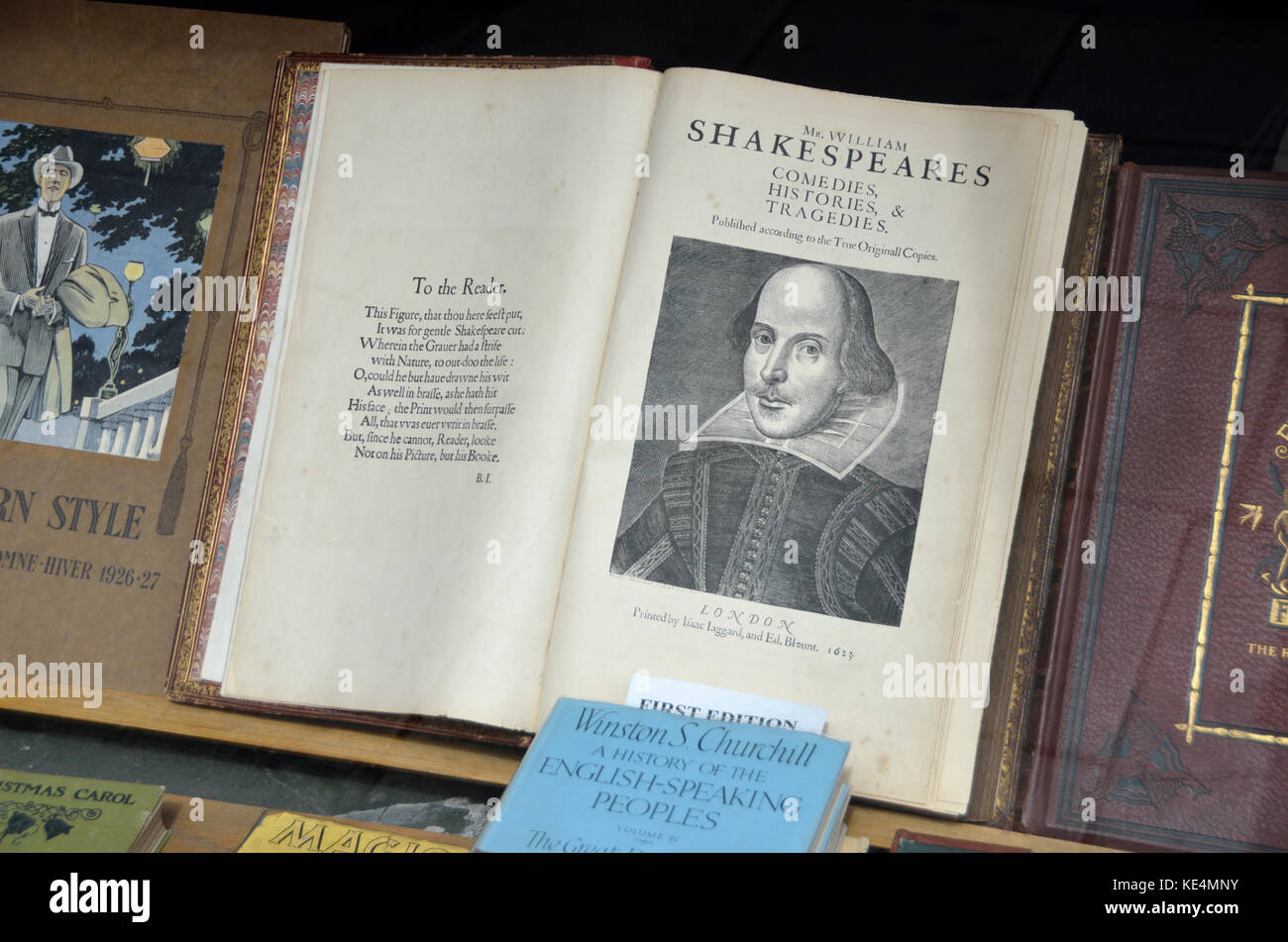 Antiquarian Shakespeare volume first edition in a shop window. - Stock Image