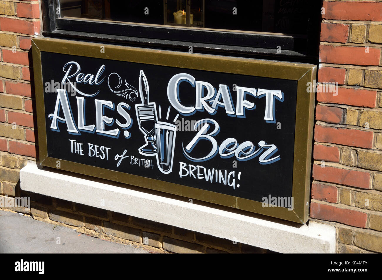 Real Craft Ales and Beer sign outside a pub, London, UK. Stock Photo