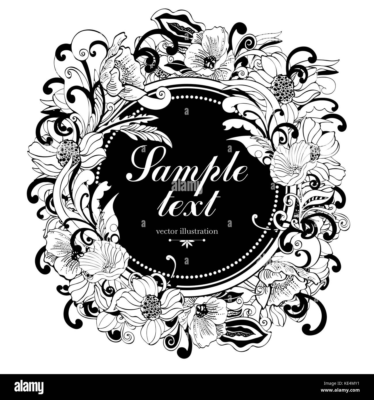 Flower round frame vector monochrome background banner floral flower round frame vector monochrome background banner floral border outline wreath abstract vector black and white flowers petals leaves curl mightylinksfo