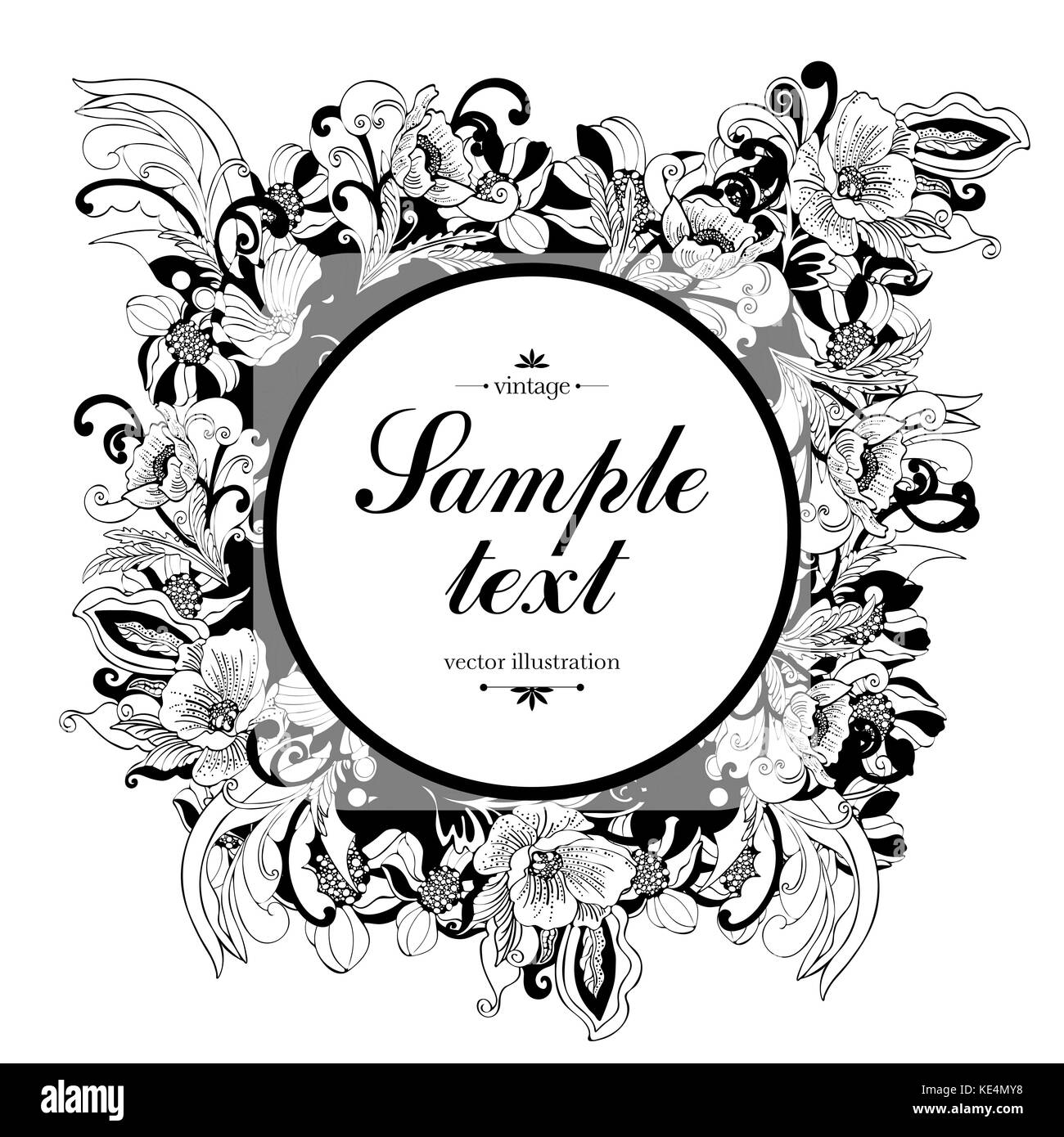 Flower round frame vector monochrome background banner floral flower round frame vector monochrome background banner floral border outline wreath abstract vector black and white flowers petals leaves curl mightylinksfo Gallery
