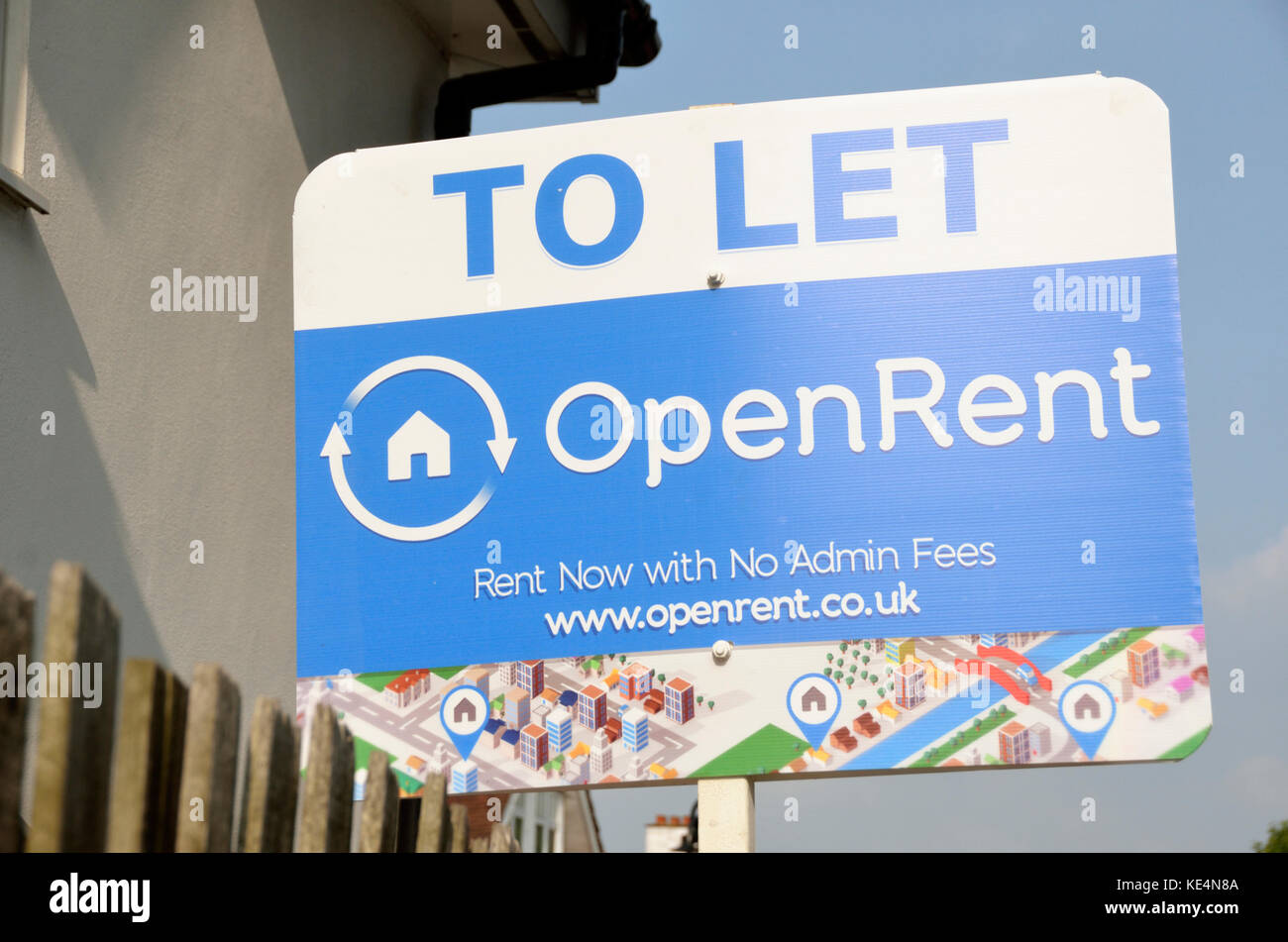 OpenRent To Let online letting estate agent board outside a house, London, UK.. - Stock Image