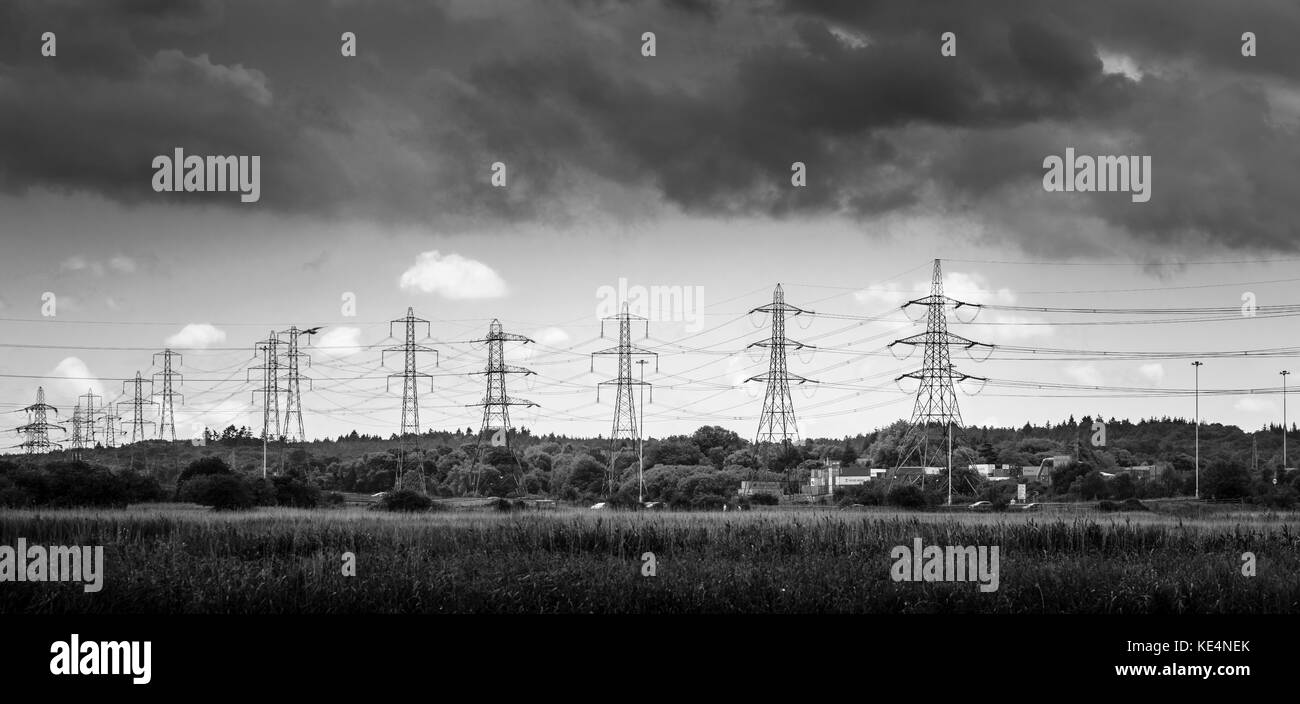 Tidal flats on the lower River Test in the Test Valley estuary into Southampton Water at Totton, Ealing and Redbridge, - Stock Image