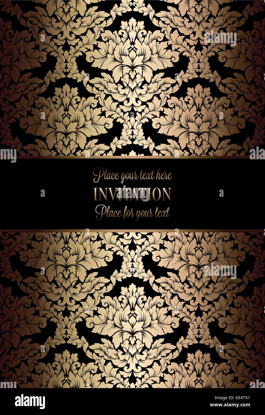 Vector luxury foliage with gold floral vintage pattern for banner vector luxury foliage with gold floral vintage pattern for banner wallpaper invitation card booklet template for wedding invitation design or back stopboris Images