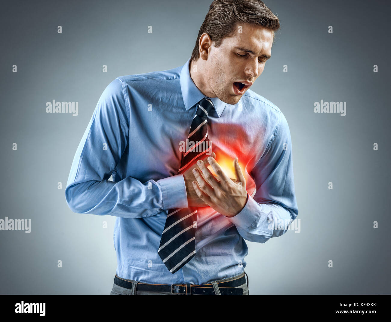 Office manager having heart attack. Medical concept. - Stock Image