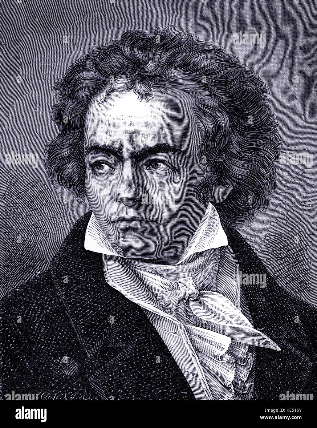Ludwig van Beethoven - portrait of the German composer. 17 December  1770- 26 March 1827. - Stock Image