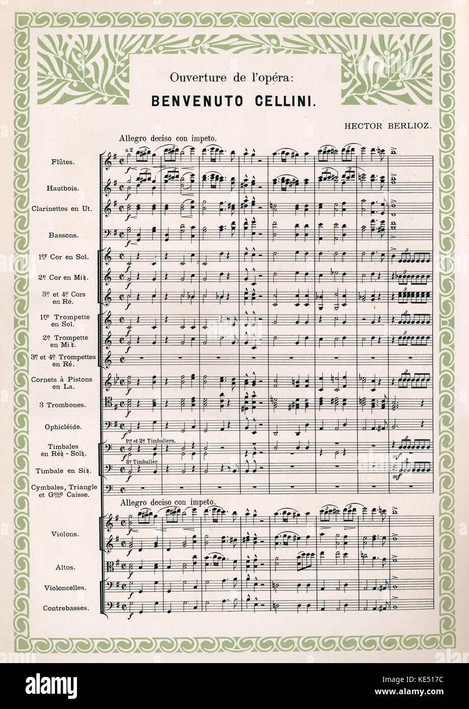 Hector Berlioz 's opera Benvenuto Cellini - overture score. Decorative surround. Stock Photo