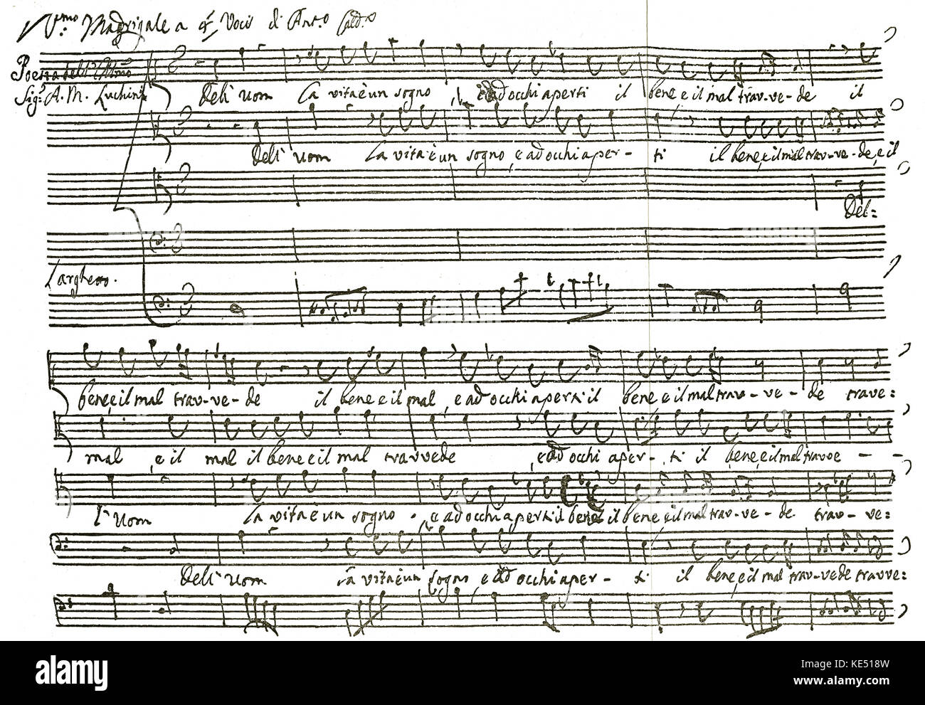 Antonio Caldara - madrigal (a setting for two or more voices - secular ) by the Italian baroque composer. AC: 1670 - Stock Image