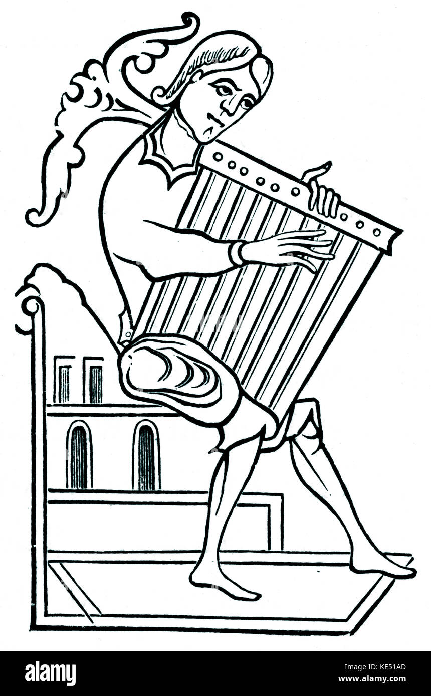 Square psaltery played by musician  - 9th century. - Stock Image