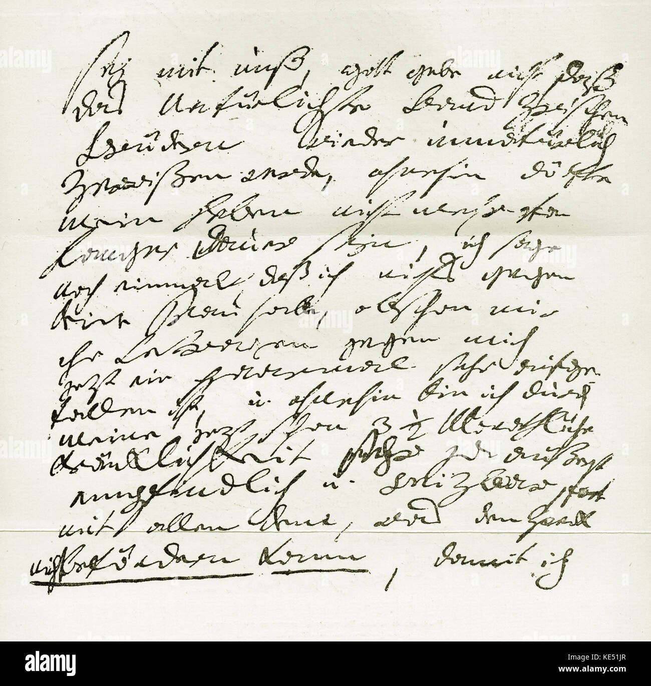 Ludwig van Beethoven - part of hand written letter from the German composer to his brother Translation: 'Be - Stock Image