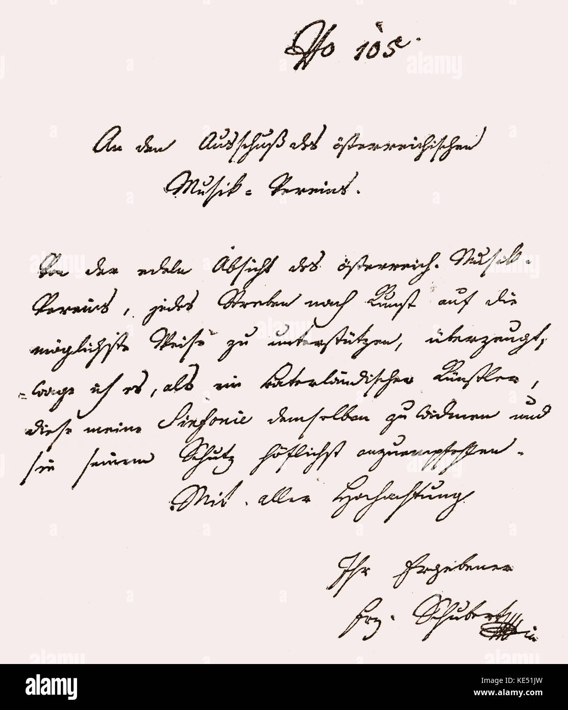 Franz Schubert - hand written letter from the Austrian composer, forwarding the score for his 'Symphony in C - Stock Image