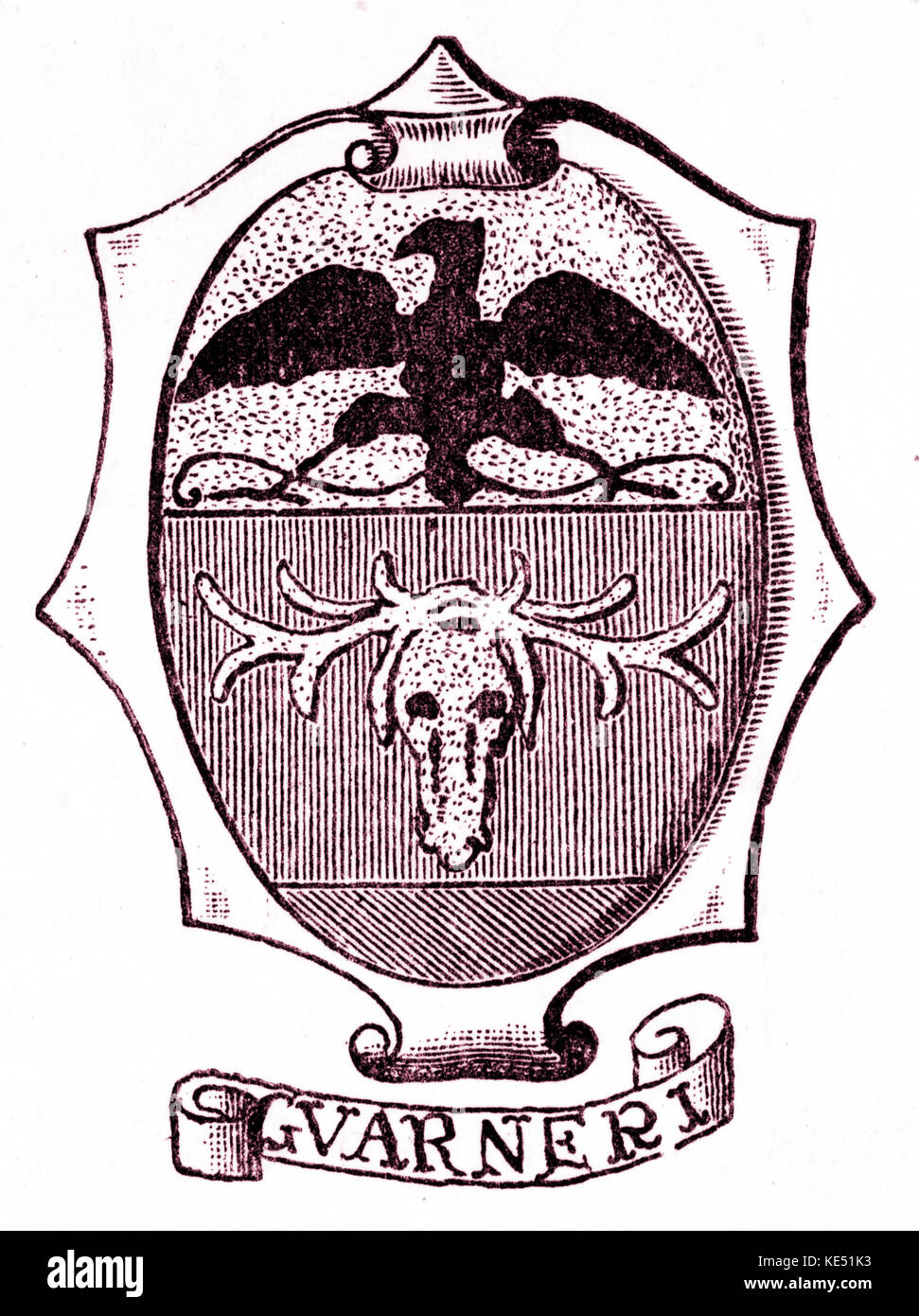 Guarneri family  - crest (or shield) of the Italian violin makers. Cremona. 17th and 18th century. Stock Photo