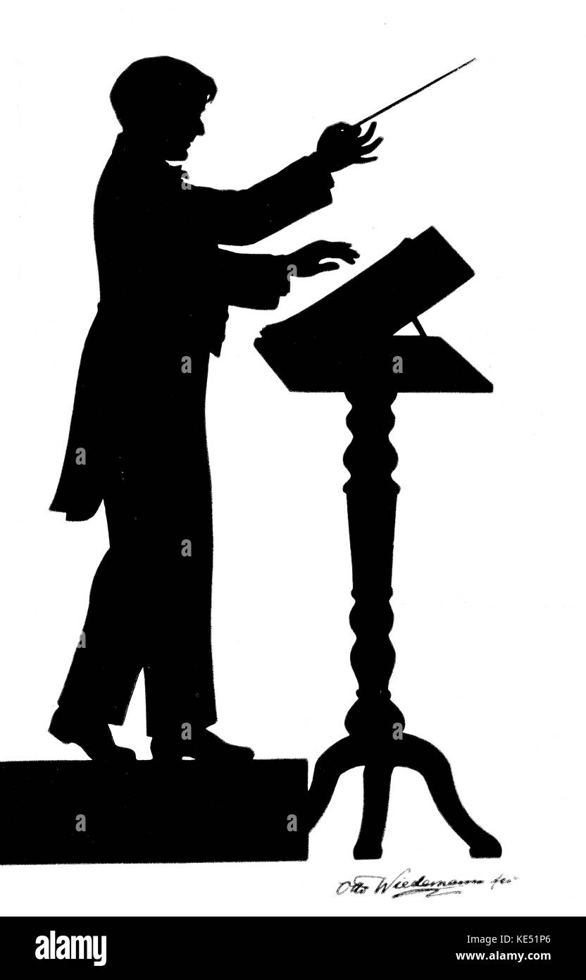 Nicolas Slonimsky - silhouette of Russian - American composer, author, conductor, music critic, pianist and lexicographer - Stock Image