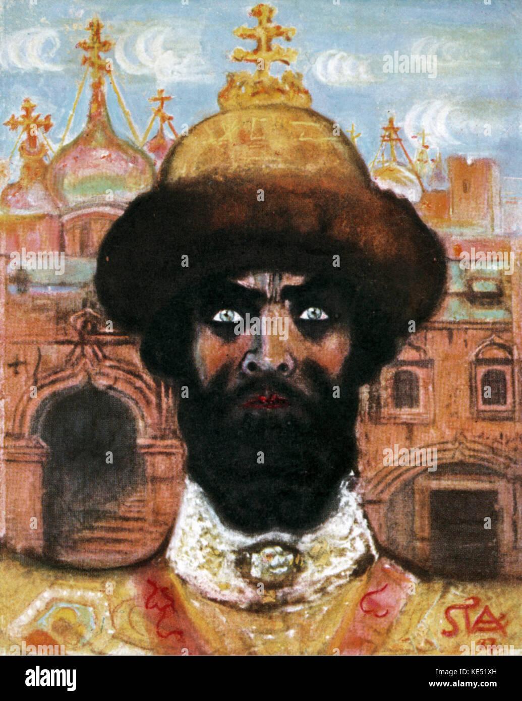 Feodor Ivanovich Chaliapin, the Russian opera singer, as 'Boris Godunov' in Modest Mussorgsky 's opera. - Stock Image