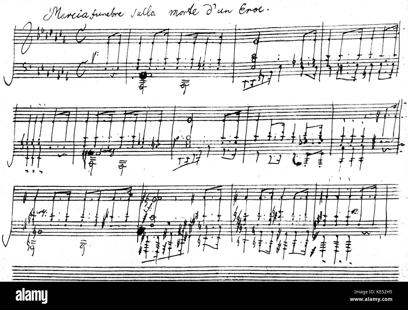 Ludwig van Beethoven 's  Piano Sonata No. 12 in A flat major, Op. 26, 1800-1801. Funeral March in third movement. - Stock Image