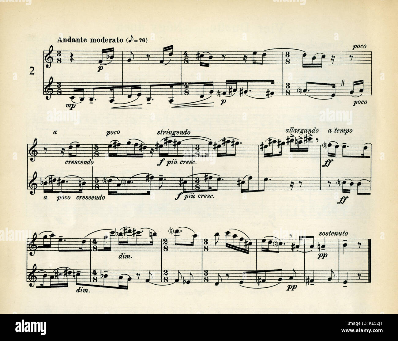 Music notation - Andante moderato. Example of a mixed meter time signature, 5/8 time signature and 4/8 time signature. - Stock Image