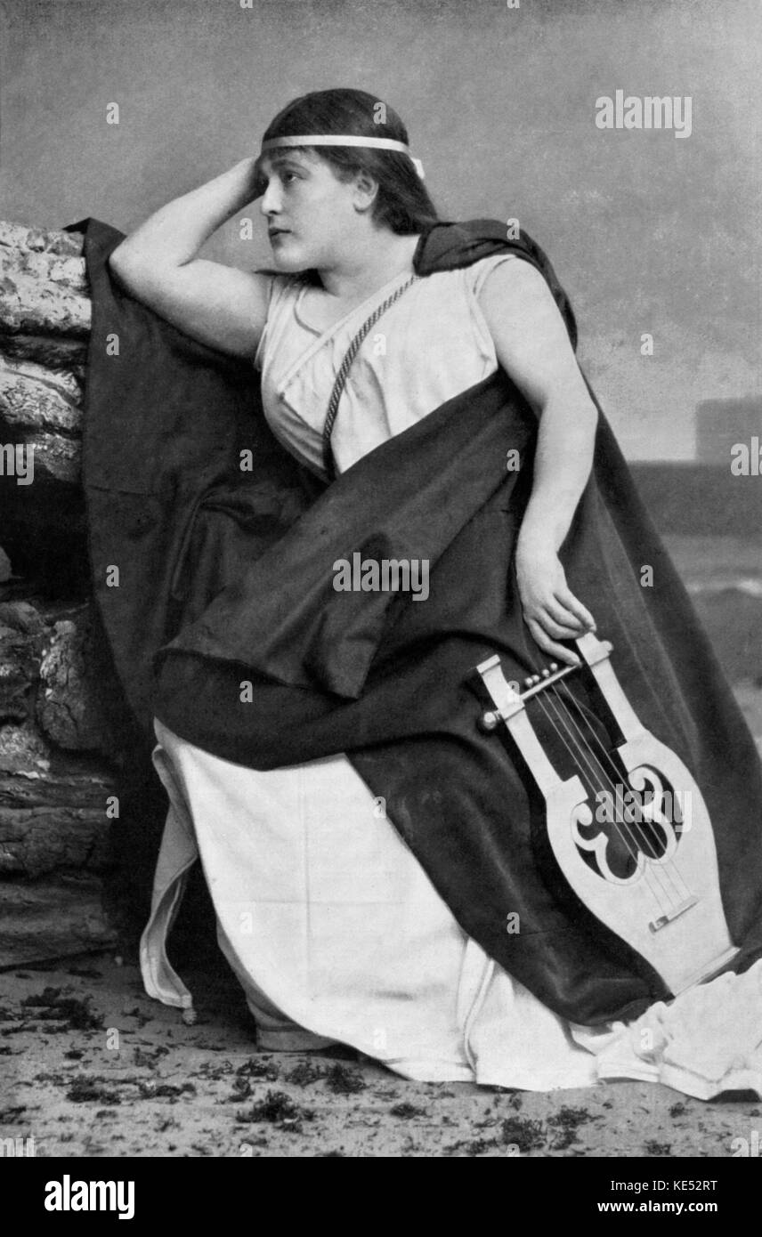 Gabrielle Krauss in role as Sapho with lyre. Austrian soprano  24 March 1842 -    6 January 1906. Opera by Jules Stock Photo